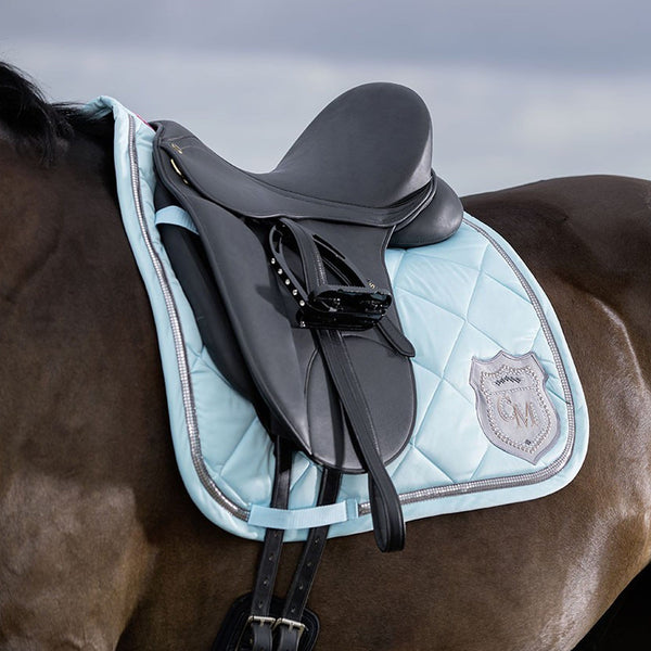 HKM Cavallino Marino Rimini Saddle Cloth Turquoise Lifestyle Close Up 9513