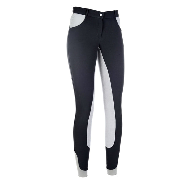 HKM Cavallino Marino Siena Crystal 3/4 Seat Breeches Anthracite Front 9162/9600