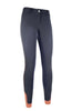 HKM Cavallino Marino Siena Piping 3/4 Seat Breeches Anthracite Studio Front View 8705/9696