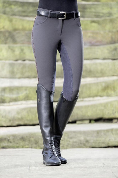 HKM Cavallino Marino Siena Piping 3/4 Seat Breeches Anthracite 8705/9696