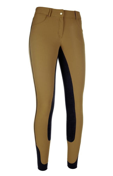 HKM Cavallino Marino Siena Piping 3/4 Seat Breeches Camel Front View 8705/1596