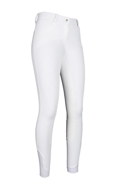 HKM Cavallino Marino Siena Piping 3/4 Seat Breeches White Front View 8705/1212