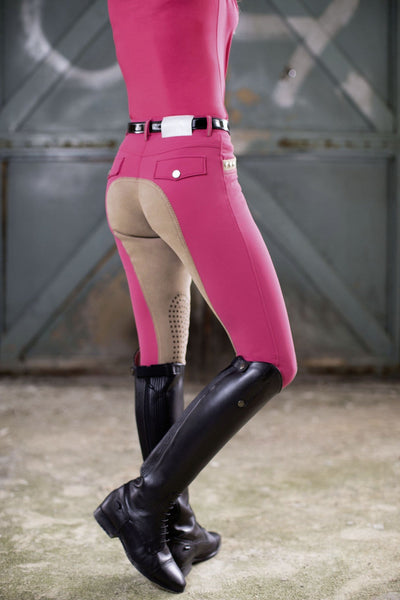 HKM Cavallino Marino Silver Stream Full Seat Silicone Breeches in Pink worn by Rider Rear View