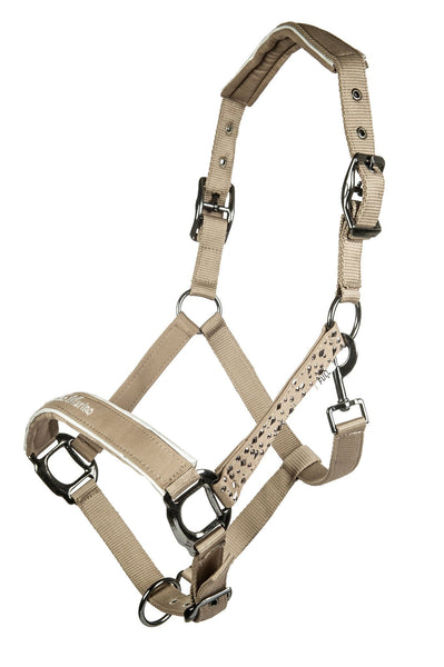 HKM Cavallino Marino Silver Stream Nylon Head Collar in Camel