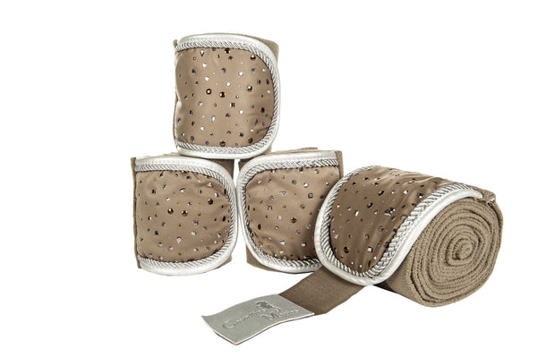 HKM Cavallino Marino Silver Stream Polar Fleece Bandages in Camel