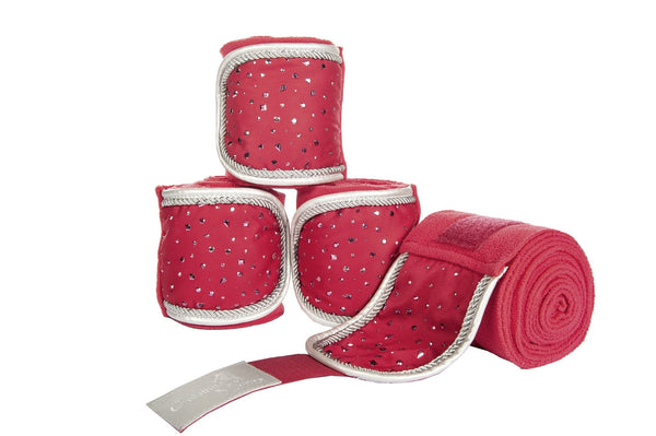 HKM Cavallino Marino Silver Stream Polar Fleece Bandages in Pink