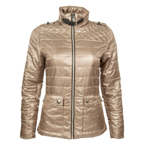 HKM Cavallino Marino Silver Stream Quilted Riding Jacket in Camel Front View