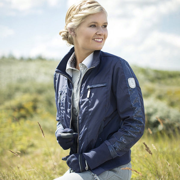 HKM Cavallino Marino Soft Powder Blouson Jacket in Blue Side View