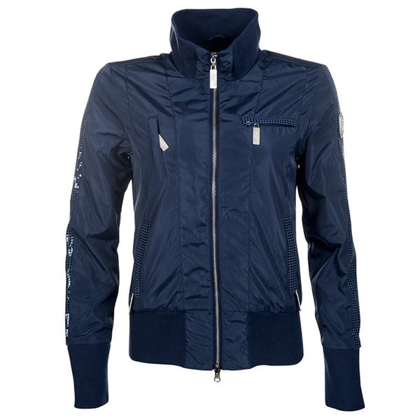 HKM Cavallino Marino Soft Powder Blouson Jacket in Blue Front View