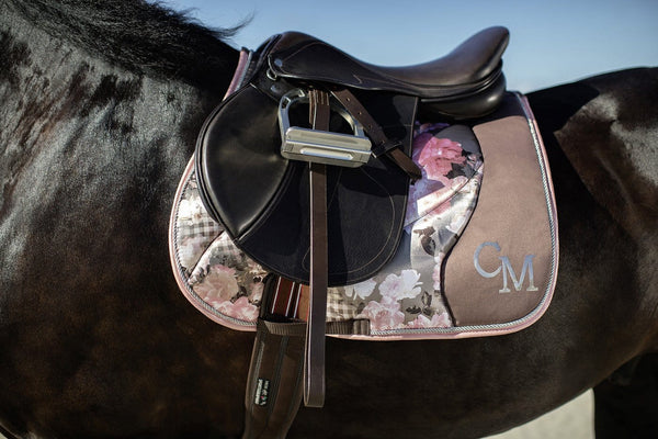 HKM Cavallino Marino Soft Powder Flower Saddle Cloth worn by Horse Inset