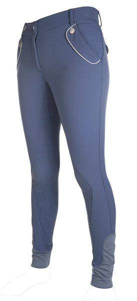 HKM Cavallino Marino Soft Powder Full Seat Silicone Breeches in Blue