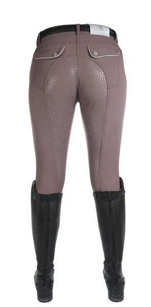 HKM Cavallino Marino Soft Powder Full Seat Silicone Breeches in Mocha Rear
