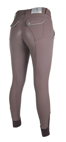 HKM Cavallino Marino Soft Powder Full Seat Silicone Breeches in Mocha Side