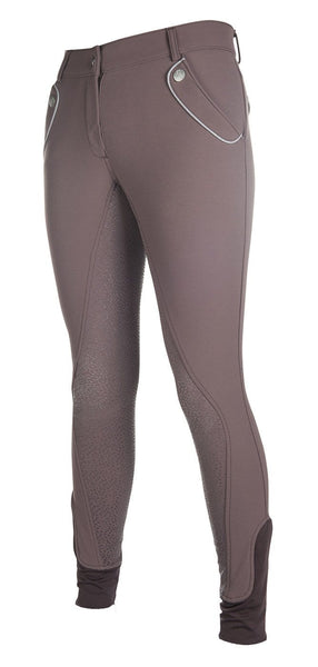 HKM Cavallino Marino Soft Powder Full Seat Silicone Breeches in Mocha Front