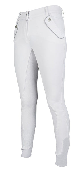 HKM Cavallino Marino Soft Powder Full Seat Silicone Breeches in White