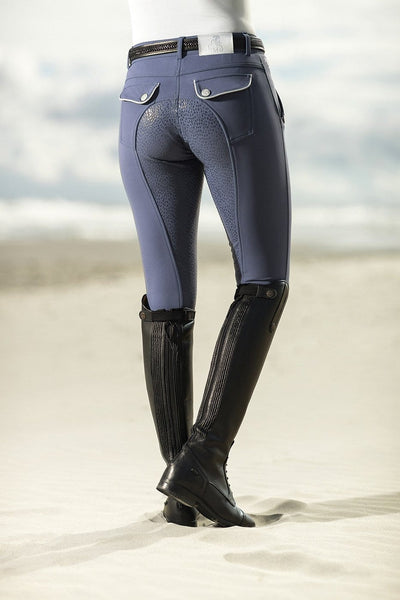 HKM Cavallino Marino Soft Powder Full Seat Silicone Breeches Rider Rear