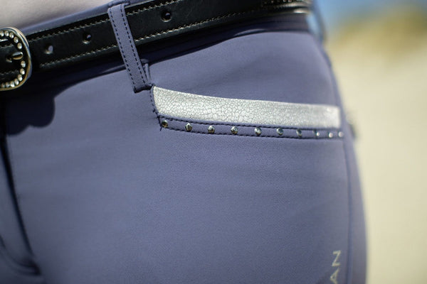 HKM Cavallino Marino Soft Powder Print Full Seat Breeches Pocket Inset