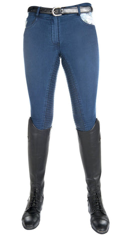 HKM Cavallino Marino Soft Powder Print Full Seat Breeches in Blue Front