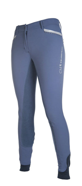 HKM Cavallino Marino Soft Powder Print Full Seat Breeches in Blue Front Side