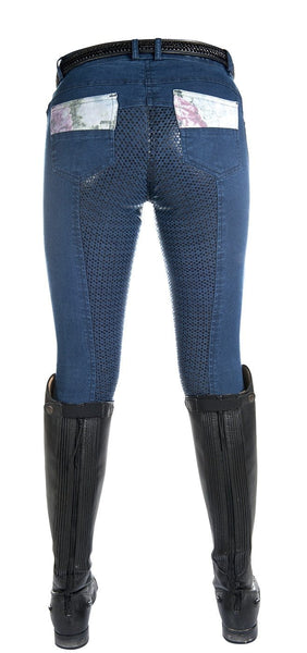 HKM Cavallino Marino Soft Powder Print Full Seat Breeches in Blue Rear