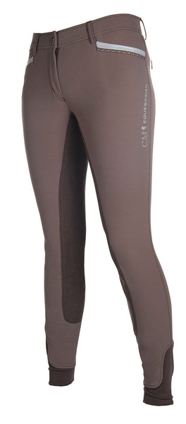 HKM Cavallino Marino Soft Powder Print Full Seat Breeches in Mocha Front Side