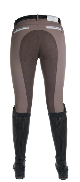 HKM Cavallino Marino Soft Powder Print Full Seat Breeches in Mocha Rear
