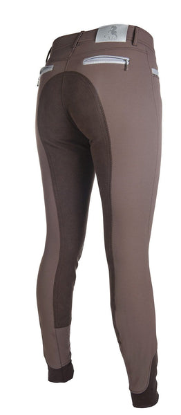 HKM Cavallino Marino Soft Powder Print Full Seat Breeches in Mocha Rear Side