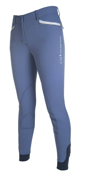HKM Cavallino Marino Soft Powder Print Knee Patch Breeches 24 (6) Blue - EQUUS