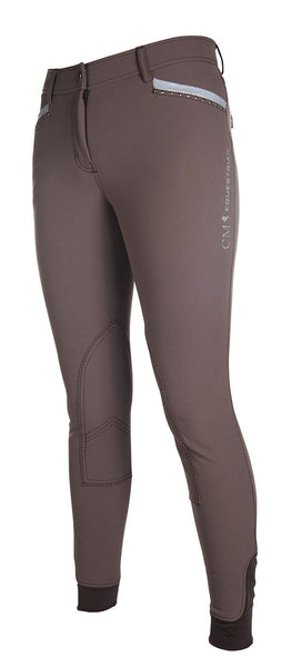 HKM Cavallino Marino Soft Powder Print Knee Patch Breeches 24 (6) Mocha - EQUUS