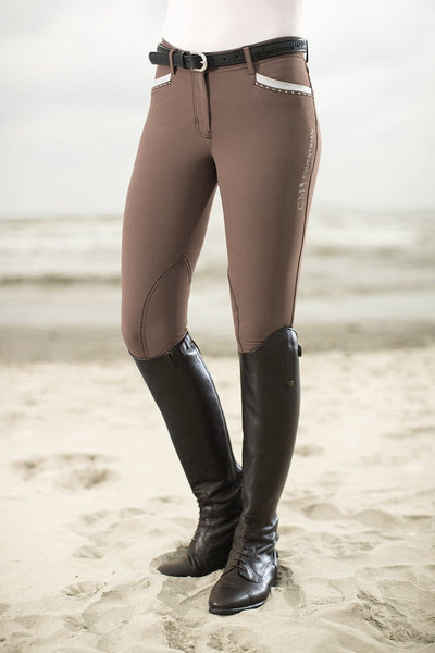 HKM Cavallino Marino Soft Powder Print Knee Patch Breeches - EQUUS