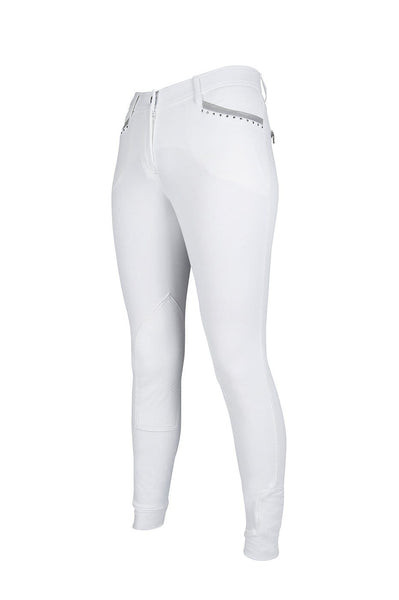 HKM Cavallino Marino Soft Powder Print Knee Patch Breeches 24 (6) White - EQUUS