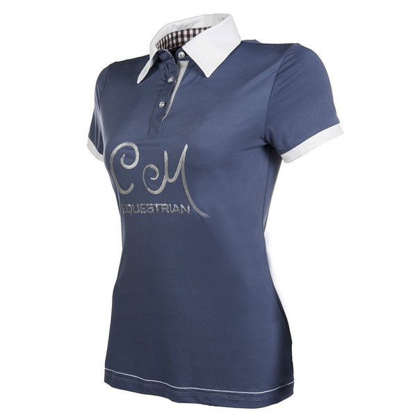 HKM Cavallino Marino Soft Powder Polo Shirt XS (8) Blue - EQUUS