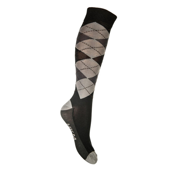 HKM Check Classico Riding Socks black with grey with anthracite