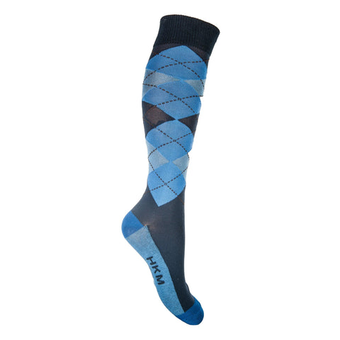 HKM Check Classico Riding Socks dark blue with middle blue