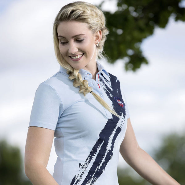 HKM County Summer Polo Shirt Sky Blue and Navy Lifestyle 9681
