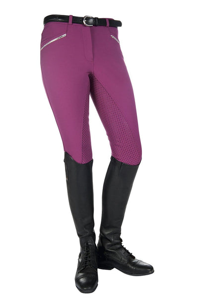 HKM Crystal Silicone Full Seat Breeches in Lilac 9540