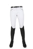 HKM Crystal Silicone Full Seat Breeches in White Front 9540