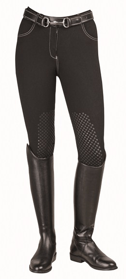 HKM Dots Breeches with Silicone Knee Edging in Black
