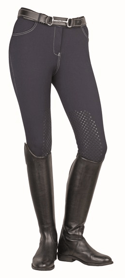 HKM Dots Breeches with Silicone Knee Edging in Navy
