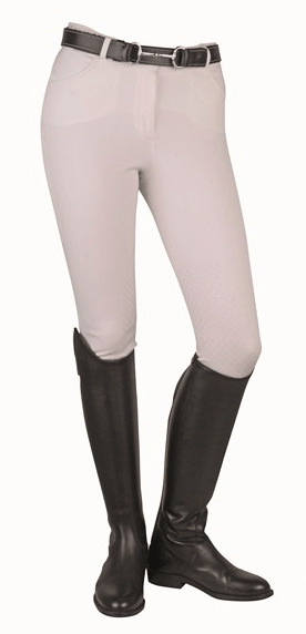 HKM Dots Breeches with Silicone Knee Edging in White