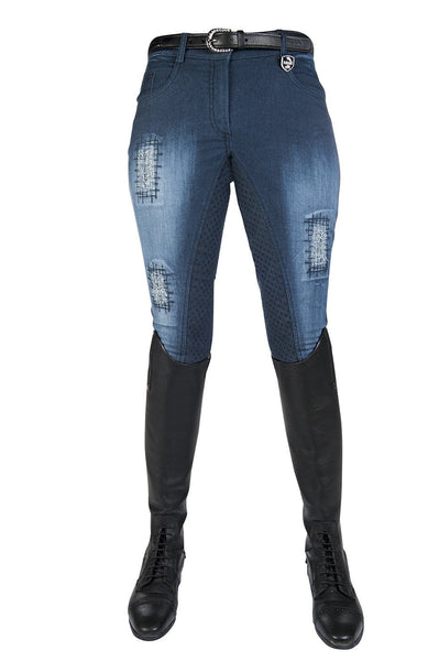 HKM Hard Used Silicone Full Seat Denim Breeches in Blue Front 8074