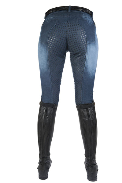 HKM Hard Used Silicone Full Seat Denim Breeches in Blue Rear 8074