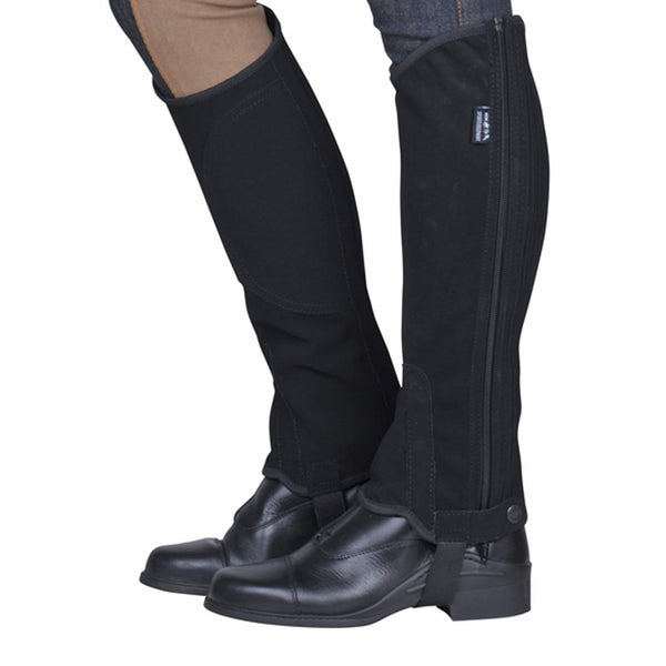 HKM Children's Imitation Nubuck Leather Half Chaps worn by Model