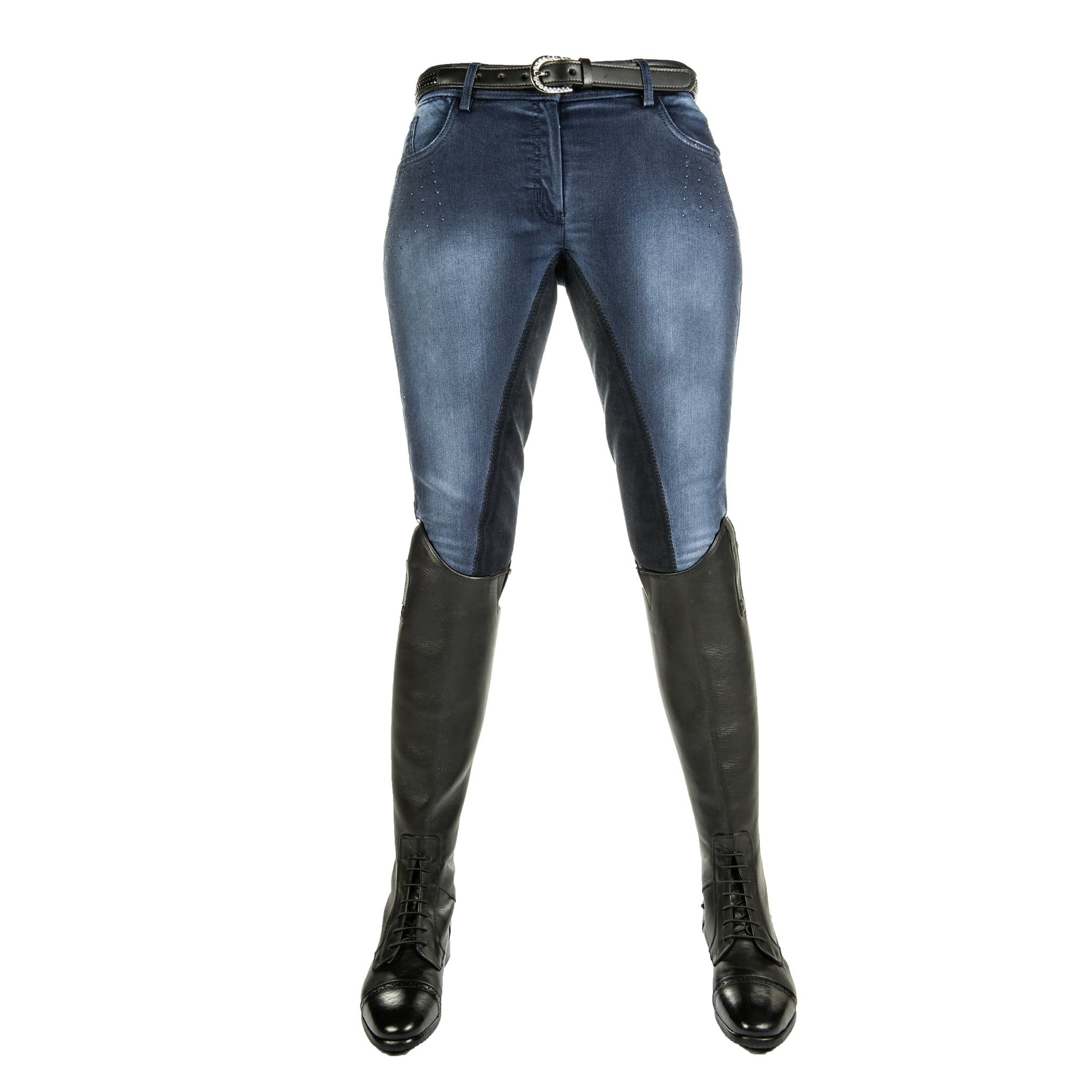 HKM Jeggings Flower Crystal Denim Breeches Front 8199