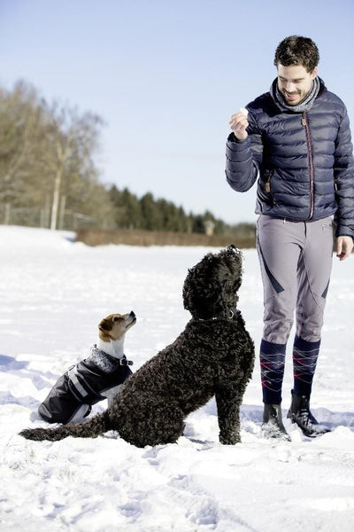 HKM Kingston Highland Men's Riding Jacket Deep Blue Lifestyle with dogs 8726/6900