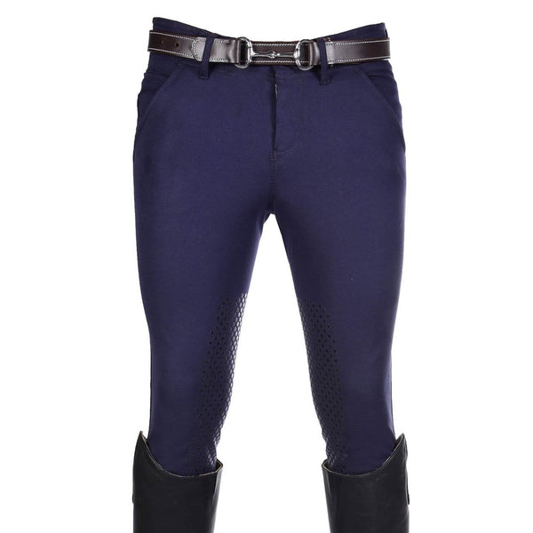 HKM Kingston Intenso Silicone Knee Patch Breeches in Deep Blue 7787
