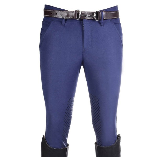 HKM Kingston Intenso Silicone Knee Patch Breeches in Middle Blue Front 7787
