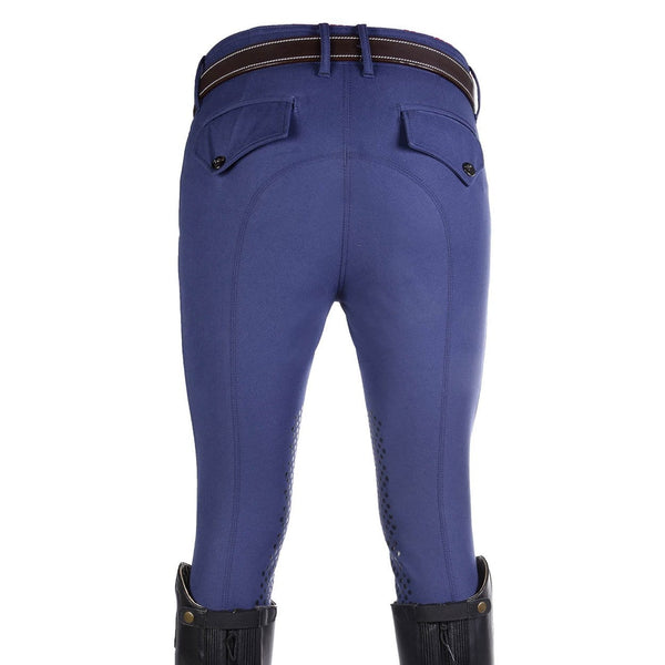 HKM Kingston Intenso Silicone Knee Patch Breeches in Middle Blue Rear 7787