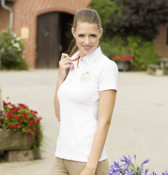 HKM Lauria Garrelli Golden Gate Ladies Polo Shirt - XS (8) / White | EQUUS