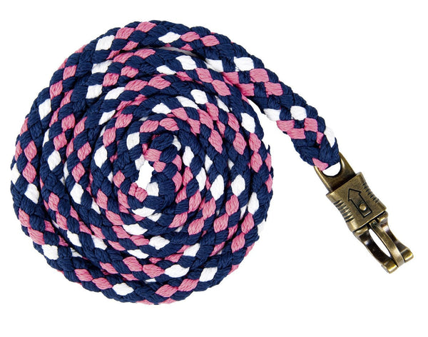 HKM Lauria Garrelli Queens Lead Rope with Snap Hook in Navy, White and Pink 8276